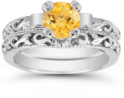 1 Carat Art Deco Citrine Bridal Ring Set, 14K White Gold