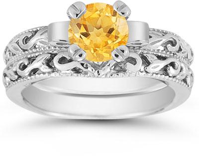 1 Carat Art Deco Citrine Bridal Ring Set, 14K White Gold