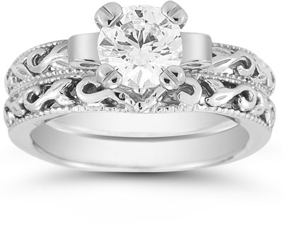 1 Carat CZ Art Deco Bridal Ring Set, 14k White Gold