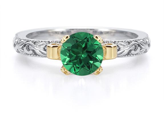 1 Carat Art Deco Emerald Engagement Ring