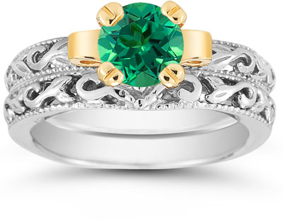 1 Carat Art Deco Emerald Bridal Ring Set