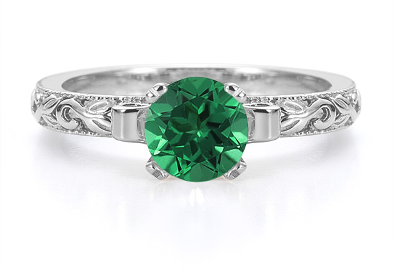 1 Carat Art Deco Emerald Engagement Ring, 14K White Gold