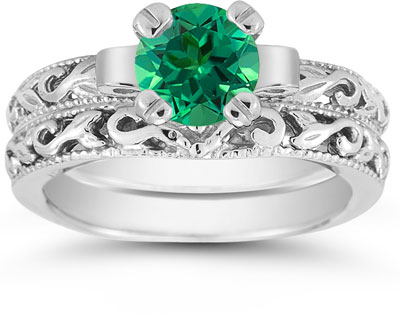 1 Carat Emerald Art Deco Bridal Ring Set, 14K White Gold