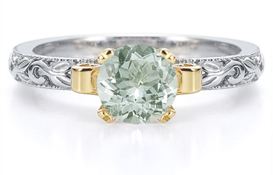 1 Carat Art Deco Green Amethyst Engagement Ring