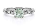 1 Carat Green Amethyst Art Deco Ring in Sterling Silver