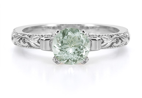 1 Carat Green Amethyst Art Deco Ring in Sterling Silver
