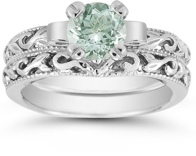1 Carat Green Amethyst Art Deco Bridal Ring Set, 14K White Gold