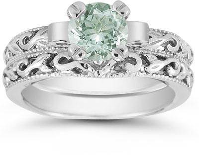 1 Carat Green Amethyst Art Deco Bridal Ring Set 14K White Gold
