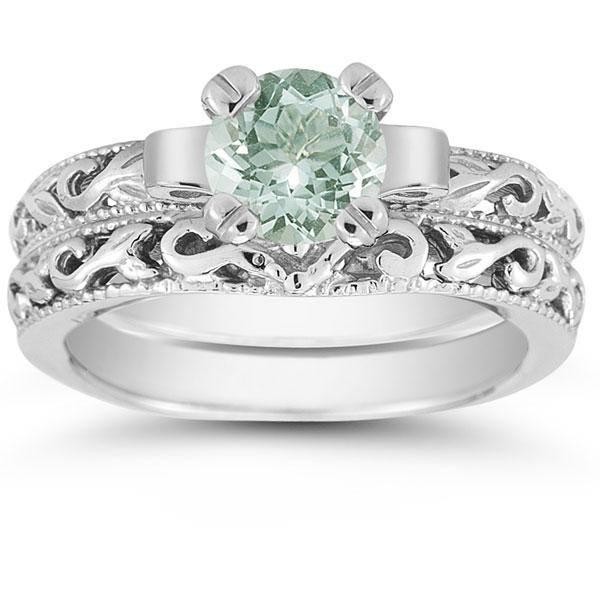 Green Amethyst 1 Carat Bridal Set in Sterling Silver