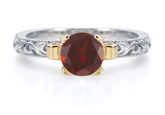 1 Carat Art Deco Garnet Engagement Ring