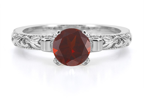 1 Carat Art Deco Garnet Engagement Ring, 14K White Gold