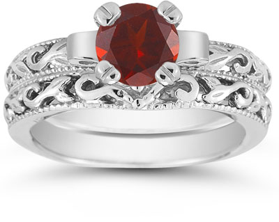1 Carat Garnet Art Deco Bridal Ring Set, 14K White Gold