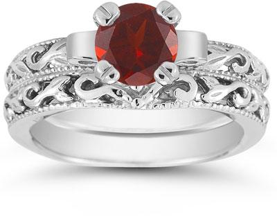 Garnet 1 Carat Bridal Set in Sterling Silver