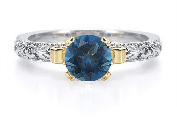 1 Carat Art Deco London Blue Topaz Engagement Ring