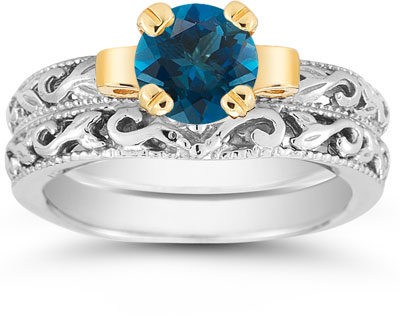 1 Carat Art Deco London Blue Topaz Bridal Ring Set