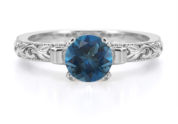 London Blue Topaz Art Deco Ring in Sterling Silver