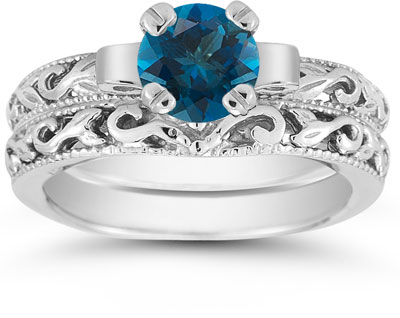 London Blue Topaz 1 Carat Bridal Set in Sterling Silver