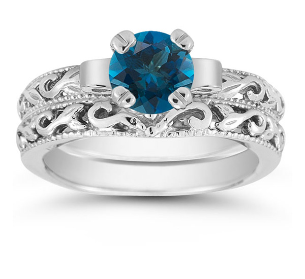 1 Carat London Blue Topaz Art Deco Bridal Ring Set, 14K White Gold