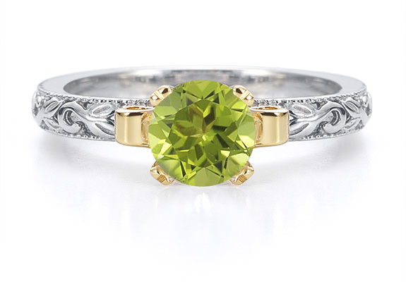 1 Carat Art Deco Peridot Engagement Ring