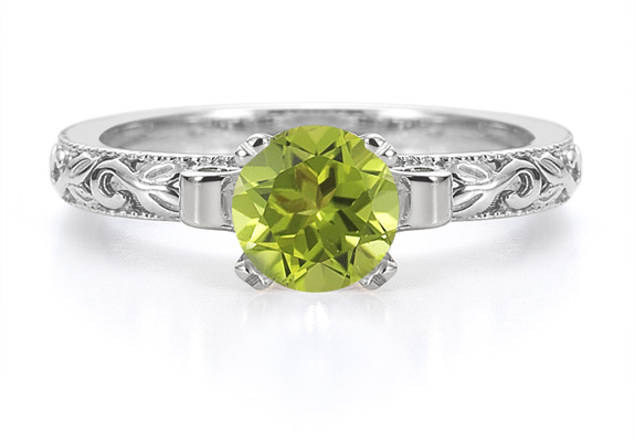 1 Carat Art Deco Peridot Engagement Ring, 14K White Gold