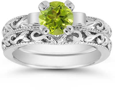 1 Carat Peridot Art Deco Bridal Ring Set, 14K White Gold