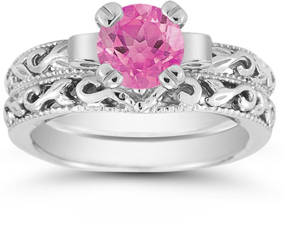 1 Carat Pink Topaz Art Deco Bridal Ring Set, 14K White Gold