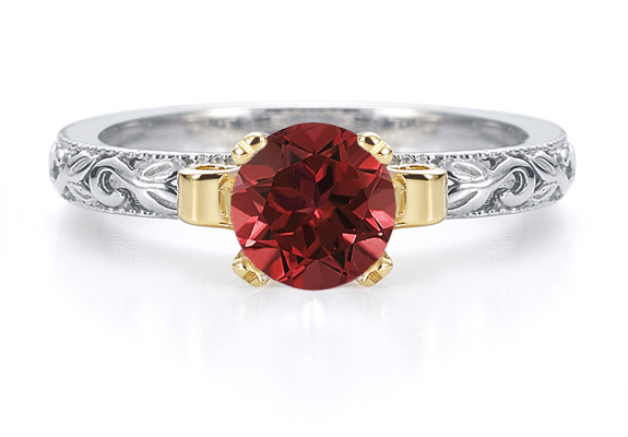 1 Carat Art Deco Ruby Engagement Ring