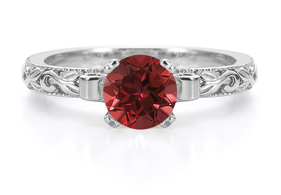 1 Carat Art Deco Ruby Ring in Sterling Silver