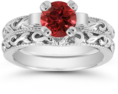 1 Carat Art Deco Ruby Bridal Set in Sterling Silver