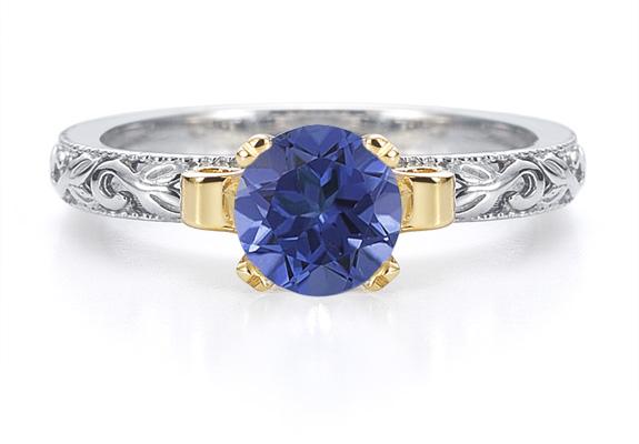 1 Carat Art Deco Sapphire Engagement Ring