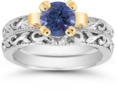 1 Carat Art Deco Sapphire Bridal Ring Set