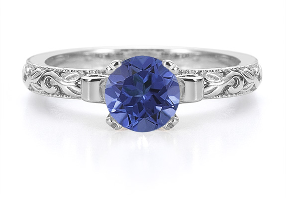 1 Carat Art Deco Sapphire Engagement Ring, 14K White Gold