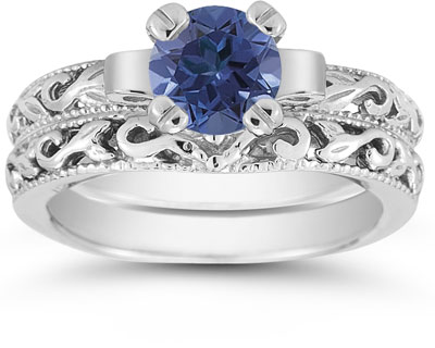1 Carat Sapphire Art Deco Bridal Ring Set, 14K White Gold