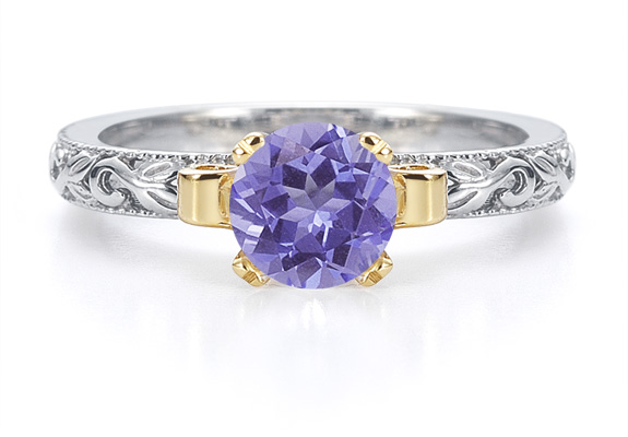 1 Carat Art Deco Tanzanite Engagement Ring