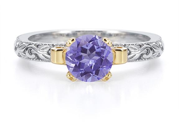 1 Carat Art Deco Tanzanite Engagement Ring