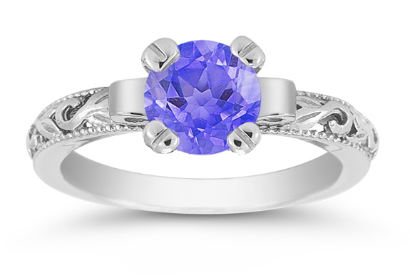 1 Carat Art Deco Tanzanite Engagement Ring, 14K White Gold