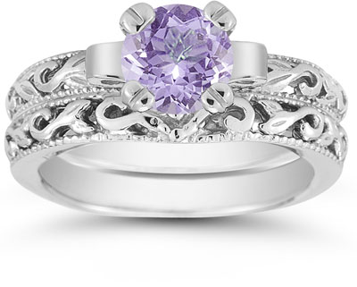 1 Carat Tanzanite Art Deco Bridal Ring Set, 14K White Gold