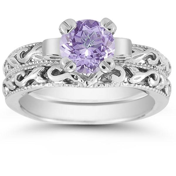 1 Carat Tanzanite Art Deco Bridal Ring Set 14K White Gold