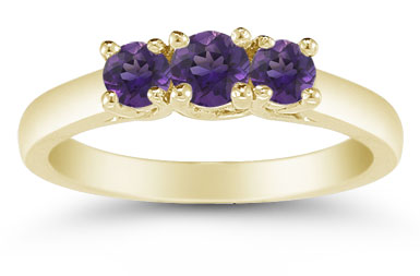 Three Stone Amethyst Ring, 14K Gold