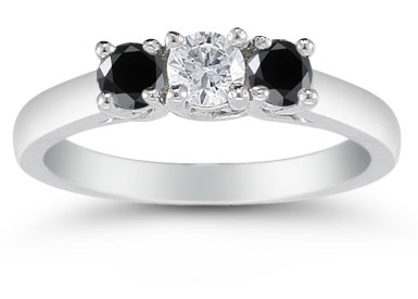 1/2 Carat Three Stone White and Black Diamond Ring, 14K White Gold