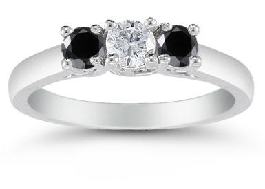 1/2 Carat Three Stone White and Black Diamond Ring, 14K White Gold