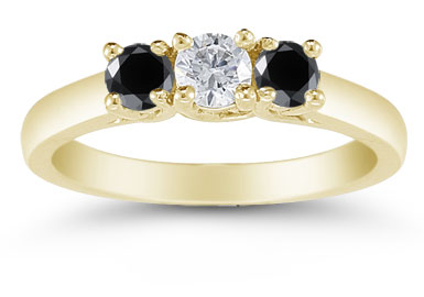 1/2 Carat Three Stone Black and White Diamond Ring, 14K Gold
