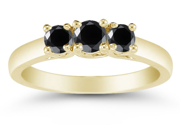 1/2 Carat Three Stone Black Diamond Ring, 14K Gold