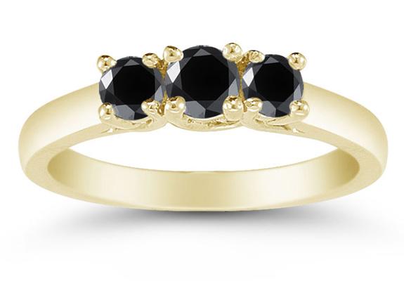 1/2 Carat Three Stone Black Diamond Ring, 14K Gold