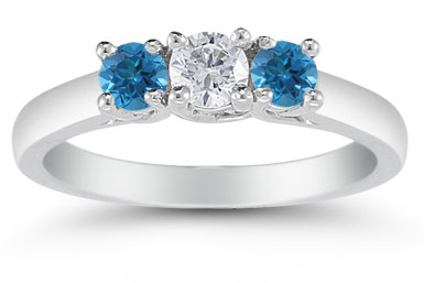 1/2 Carat White and Blue Diamond Three Stone Ring, 14K White Gold