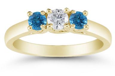 1/2 Carat White and Blue Diamond Three Stone Ring, 14K Gold