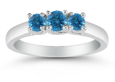 1/2 Carat Blue Diamond Three Stone Ring, 14K White Gold