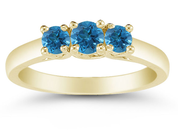 1/2 Carat Blue Diamond Three Stone Ring, 14K Gold