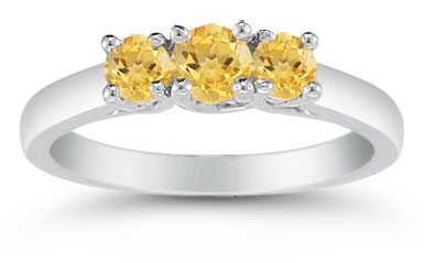 Three Stone Citrine Ring, 14K White Gold