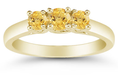 Three Stone Citrine Ring, 14K Gold